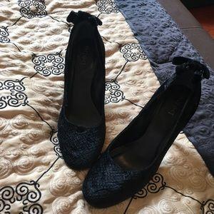 Bebe closed toed sexy black velvet pumps size 7